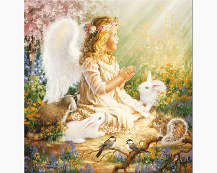 VP385 картина по номерам Ангелок и лесные зверушки DIY Babylon фото набора