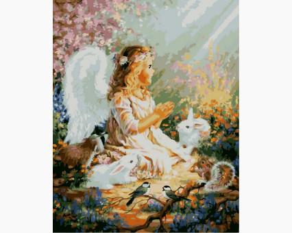 VP385 картина по номерам Ангелок и лесные зверушки DIY Babylon
