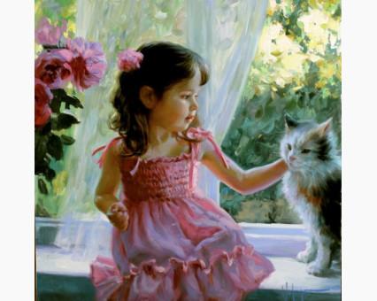 VP389 картина по номерам Девочка и кот DIY Babylon фото набора