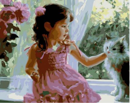 VP389 картина по номерам Девочка и кот DIY Babylon