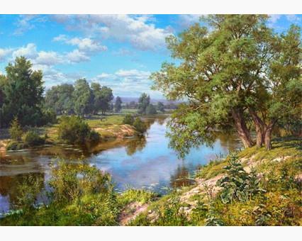 VP402 картина по номерам Пейзаж с рекой DIY Babylon фото набора
