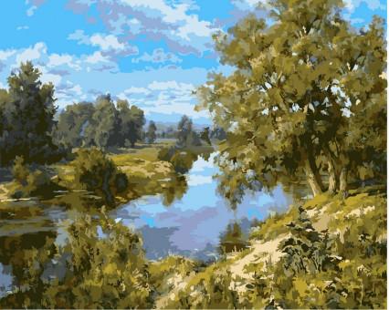 VP402 картина по номерам Пейзаж с рекой DIY Babylon