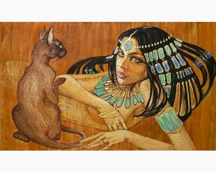 VP424 картина по номерам Египтянка с кошкой DIY Babylon фото набора