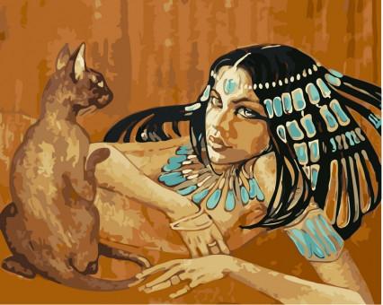 VP424 картина по номерам Египтянка с кошкой DIY Babylon