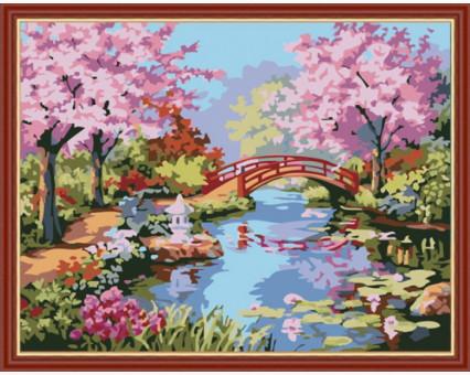 KH190 картина по номерам Японский сад Идейка