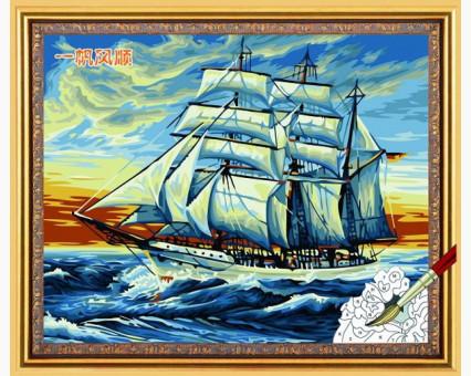 Купить KH228 Раскраска по номерам Корабль на закате ...