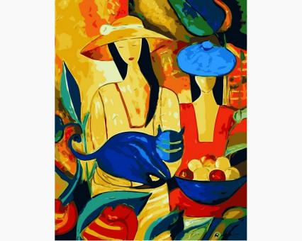 VP416new картина по номерам Дамы в шляпах и кот DIY Babylon
