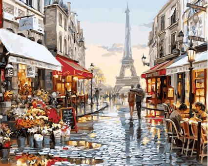 VP443 картина по номерам Париж после дождя DIY Babylon
