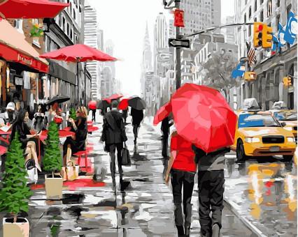 VP446 картина по номерам Дождь в Нью-Йорке DIY Babylon