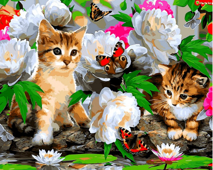 VP463 картина по номерам Милые котики DIY Babylon