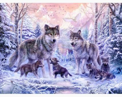 VP466 картина по номерам Волчье семейство DIY Babylon фото набора