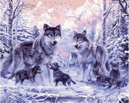 VP466 картина по номерам Волчье семейство DIY Babylon