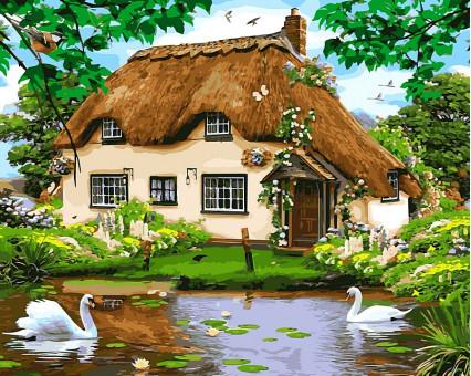 VP476 картина по номерам Сельский домик DIY Babylon