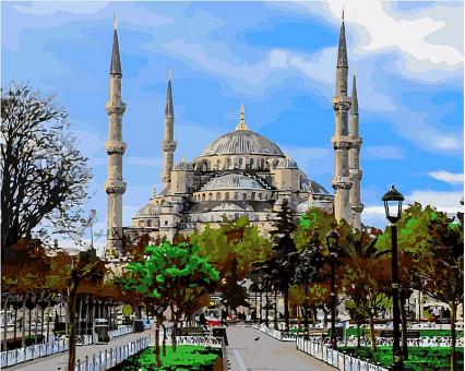 VP485 картина по номерам Стамбул. Голубая мечеть.  DIY Babylon
