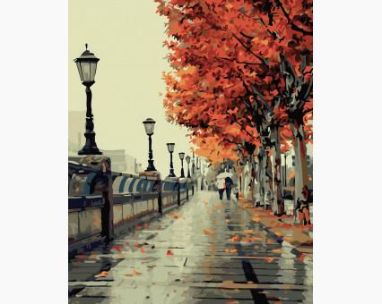 BK-G117 картина по номерам Осенний бульвар НикиТошка