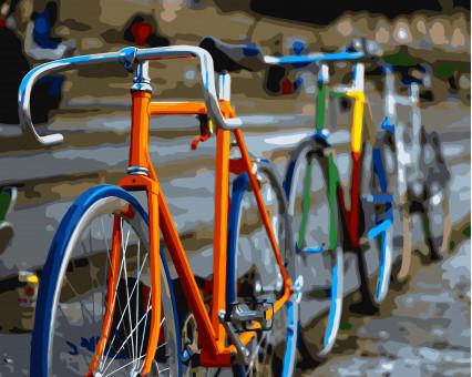 BK-GX7103 Картина раскраска Разноцветные велосипеды