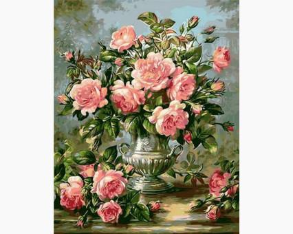 MR-Q1117 Картина раскраска Розы в серебряной вазеMariposa