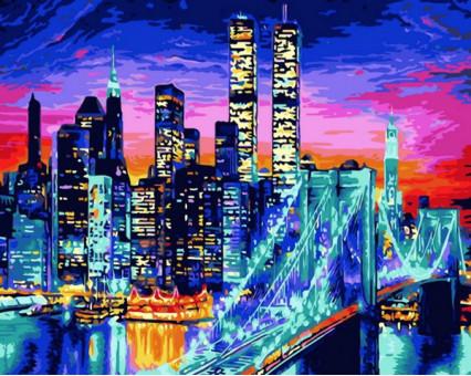 MR-Q1434 картина по номерам Бруклинский мост в огнях Mariposa