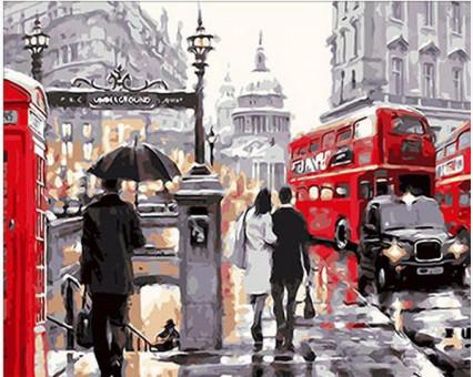 MR-Q222 картина по номерам Лондонский дождь Mariposa