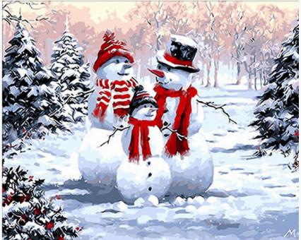 MR-Q294 картина по номерам Семейство снеговиков Mariposa