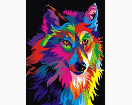 VK004 Раскраска по номерам на холсте Радужный волк