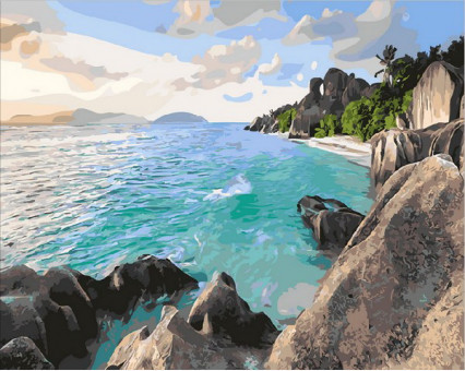 MR-Q1897 картина по номерам Карибский берег Mariposa
