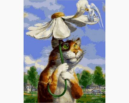 MR-Q2076 Картина раскраска Кот с ромашкой Mariposa