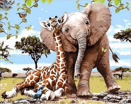 MR-Q2089 картина по номерам Слоненок и жираф Mariposa