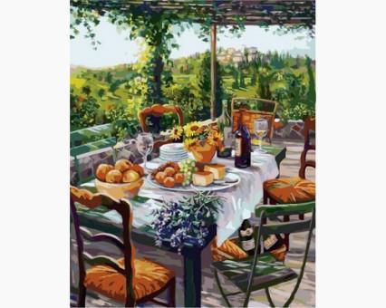 VP670 картина по номерам Завтрак с сыром и вином DIY Babylon