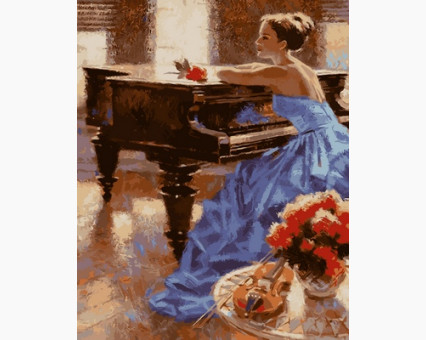 VP675 Картина раскраска Незнакомка у рояляТурбо