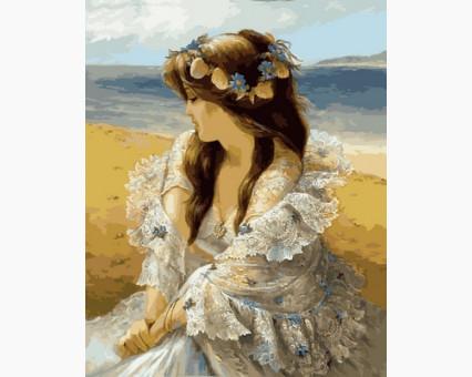 VP677 картина по номерам Девушка в венке из ракушек DIY Babylon