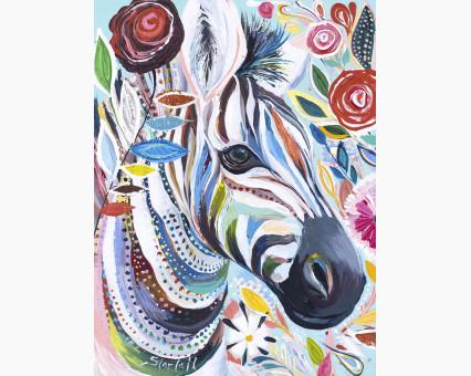 BK-GX4248 картина по номерам без коробки Зебра в цветах Без коробки