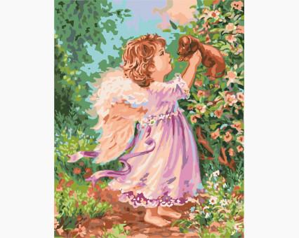 KHO2314 картина по номерам Ангел со щенком Идейка