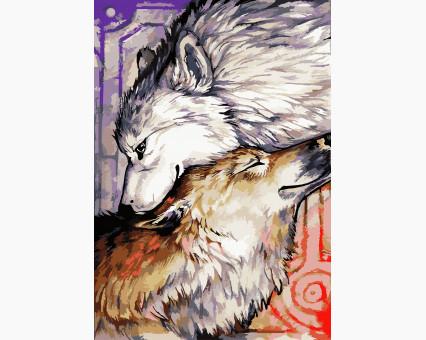KHO2447 картина по номерам без коробки Влюбленные волки Идейка