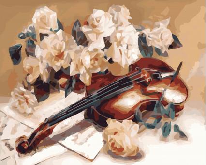 KHO5500 картина по номерам Мелодия скрипки Идейка