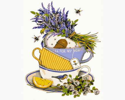 KHO5502 картина по номерам Чай с лавандой и лимоном Идейка
