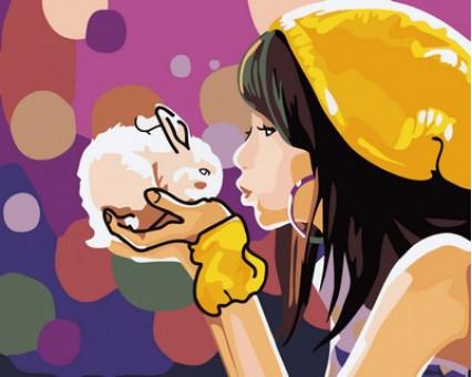 MR-Q2105 Картина по номерам Девочка с кроликом Mariposa