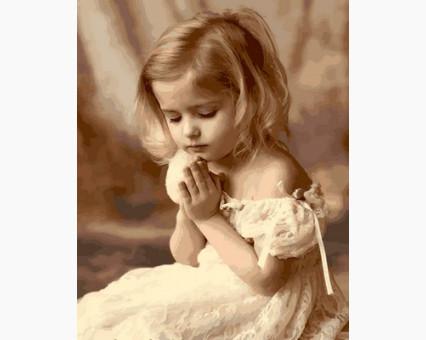 MR-Q2107 картина по номерам Молитва ребенка Mariposa