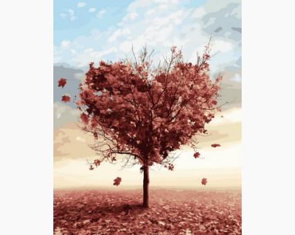 Купить MR-Q2110 Раскраска по номерам Осеннее дерево любви ...