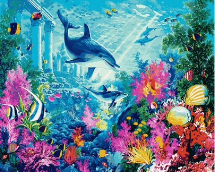 MR-Q2111 картина по номерам Водный мир Mariposa