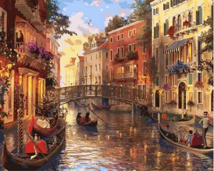 MR-Q2115 картина по номерам Закат в Венеции Mariposa