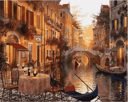MR-Q2116 картина по номерам Венеция. Кафе на берегу канала Mariposa