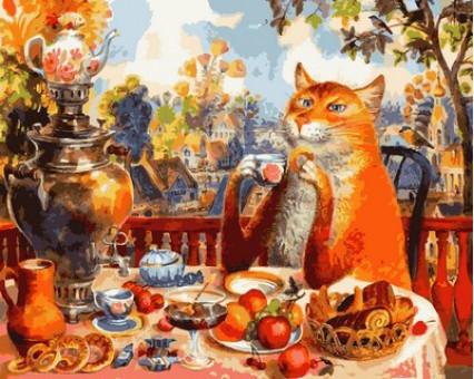 MR-Q2127 картина по номерам Кошачье чаепитие Mariposa