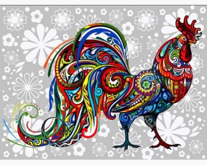 VK163 картина по номерам Цветочный петух DIY Babylon