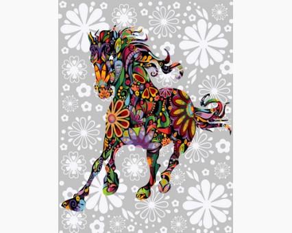 VP757 картина по номерам Цветочная лошадь DIY Babylon