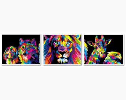 VPT022 Раскраска по номерам Триптих. Радужные животные Турбо