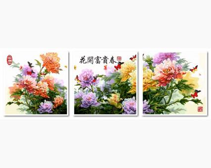 VPT023 картины по номерам Триптих. Японские хризантемы DIY Babylon
