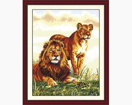 ide_D040 набор для вышивания Картина вышивка крестом Идейка Львиная семья (D040) Идейка