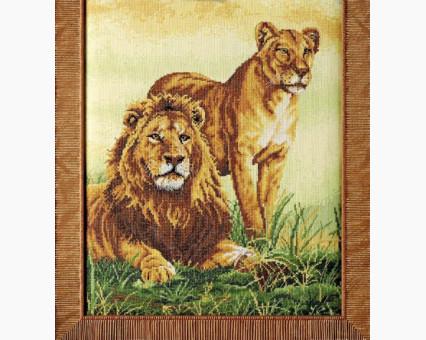 ide_D040 набор для вышивания Картина вышивка крестом Идейка Львиная семья (D040) Идейка фото набора