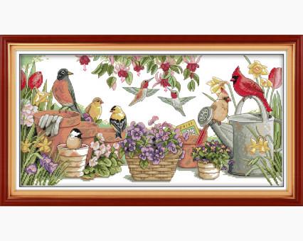 ide_D108 набор для вышивания Вышивка крестиком Идейка Птички в саду (D108) Идейка